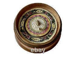Sun-shaped Dial-in Compass Of Wood Pocket - Polychrome Paper Science Period 19th