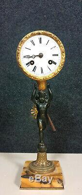 Superb Pendulum Putto Time XIX Ormolu And Patinated