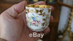 Tea Or Coffee Service Porcelain Paris, Flower Decor, Time XIX