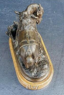 Th. Gechter Horse Bronze A 'patine Maroon Marble Siena Epoque Xixeme 16x15cm