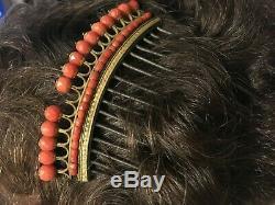 Tiara Comb 1st Empire Era Coral And Gilt Nineteenth Malmaison