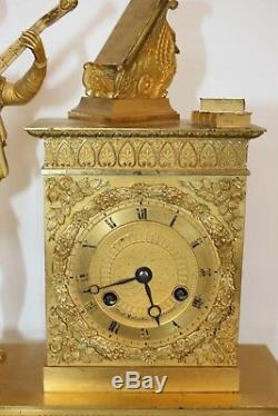 Troubadour Clock In Gilt Bronze Signed Fred Malzahn Nineteenth Time