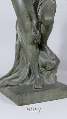 Venus Au Bain D'après Allegrain, Statuette En Bronze Patiné, Époque XIX Ème