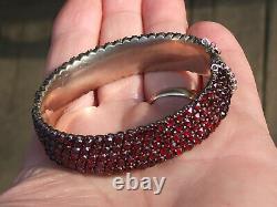 Very Beau Bracelet Ancien Of Epoque Mid-19th In Metal With Grenat De Bohême