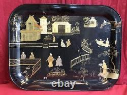 Very Grand Plateau 19th In Chinese Decor Tool Napoleon III 74 X 57cm
