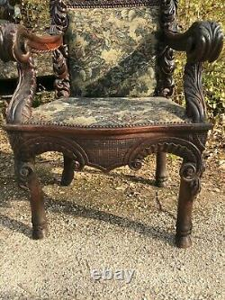 Very Large Pair Of Armchairs With Medieval Coat Of Arms 19th Century