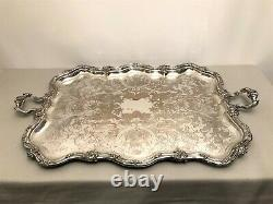 Very Large Silver Metal Tray At The End Of The 19th Century