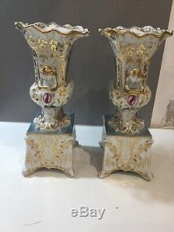 Very Nice Pair Of Vases In Porcelain Paris XIX Napoleon Empire Era