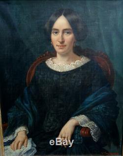 Victor Favier Female Portrait Vintage Louis Philippe Hst Nineteenth Century