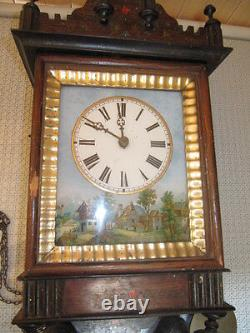 Wall Clock With Glass Painting In Time Nineteenth