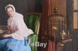 Woman With Serinette Oil On Canvas Time Early Nineteenth