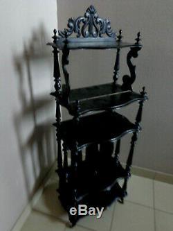 Wooden Music Locker Blackened Napoleon III Shelf Antique XIX Eme Deco
