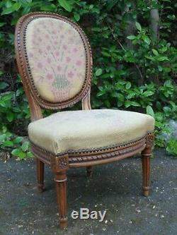 Xixth Century, Louis XVI Small Armchair, Medallion Chair, Flowers