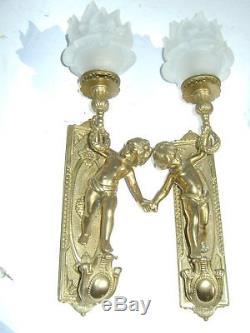 2 appliques bronze doré Louis XVI angelots époque XIX em  électrification récen