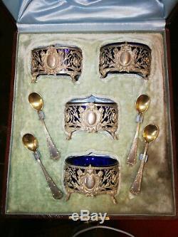 4 salières et 4 cuillères argent poinçon minerve époque XIX ème siècle