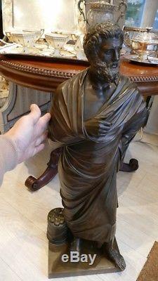 87 Cm! Sophocle, Grand Bronze Barbedienne, époque XIX ème
