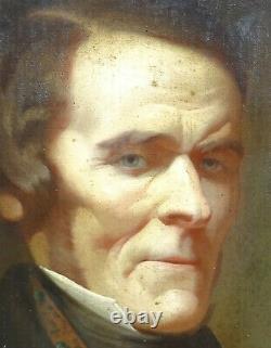 A Piot Portrait d'Homme d'Epoque Louis XVIII Ecole Française du XIXème HST