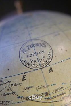 ANCIEN GLOBE TERRESTRE SIGNÉ G. THOMAS ÉPOQUE FIN XIXème PARIS CHAMPS ÉLYSÉES