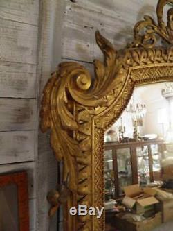 ANCIEN MIROIR DE CHEMINEE STYLE LOUIS XV bois doré Epoque XIXeme deco château