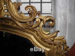 ANCIEN MIROIR DE STYLE LOUIS XV en bois doré sculpté Epoque XIXeme deco château