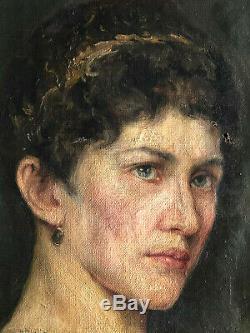 ANCIEN PORTRAIT DE FEMME HUILE SUR TOILE SIGNÉ A VILLIER EPOQUE FIN XIXème 19th