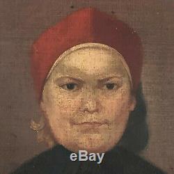 ANCIEN PORTRAIT HUILE SUR TOILE ENFANT EPOQUE XIXème HST
