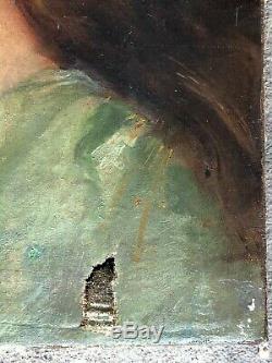ANCIEN PORTRAIT JEUNE FEMME HUILE SUR TOILE EPOQUE FIN XIXème hst