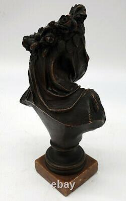 Albert Ernest Carrier Belleuse Bronze Vestale voilée époque XIXeme