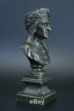 Ancien Buste bronze Le Dante epoque Napomeon III XIXème 20,5 cm