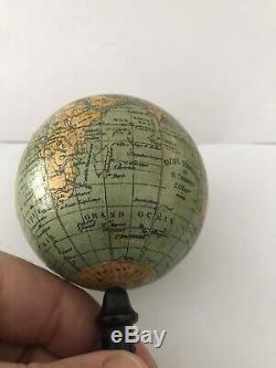 Ancien Globe Terrestre Miniature Mappemonde Epoque Xixeme Napoleon 3
