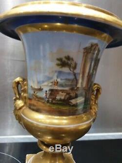 Ancien Grand Vase, Medicis, Epoque Empire, Dorure Porcelaine De Paris, Xixeme