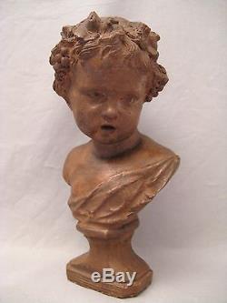 Ancien buste en terre cuite Bacchus époque début XIX ème siècle