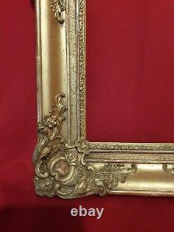 Ancien cadre doré époque XIX ème, style Louis XV, Napoléon III, belle dorure