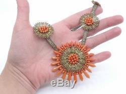 Ancien collier perles de corail et fil d'acier époque Empire XIXeme