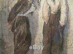 Ancien dessin aquarelle signé paul Gavarni époque XIXème siècle