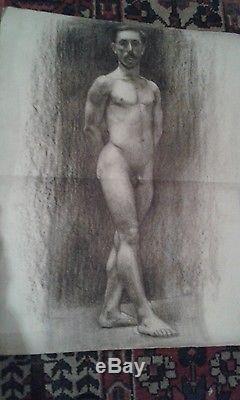 Ancien et grand dessin de nu masculin époque fin XIX ème siècle