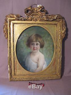 Ancien pastel époque XIX ème siècle de Maurice Alléon portrait de petite fille