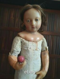 Ancien personnage cire JESUS 48 cm époque XIXème en état grenier