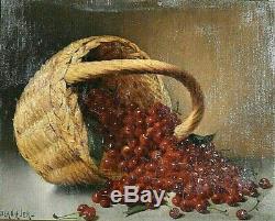 Ancien tableau HST Nature Morte aux cerises signé Blanquer époque XIXème
