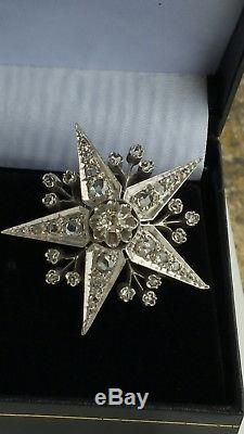 Ancienne Broche Etoile Or 18 K Argent // Diamants // Epoque XIX Eme