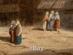 Ancienne aquarelle gouachée. Paysage animé signée Karl Girardet époque XIXème