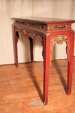 Ancienne console autel Chinois bois laqué époque XIX ème siècle