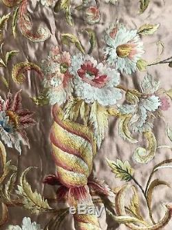 Ancienne et grande broderie sur soie époque NAPOLEON III embroidery on silk 19th