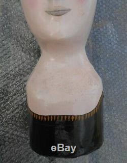 Ancienne marotte papier mâché chapeau mannequin époque XIXème