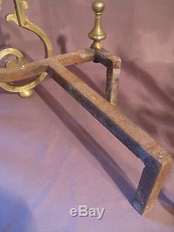 Ancienne paire de chenets style renaissance en bronze doré époque XIXème siècle