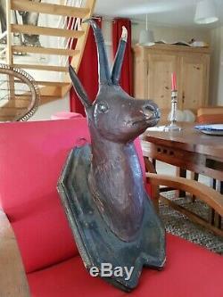 Ancienne tête de chamois en bois sculpté époque XIX ème s, trophée foret noire