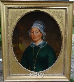 André Chalet Portrait de Femme Normande Epoque Second Empire XIXème siècle HST