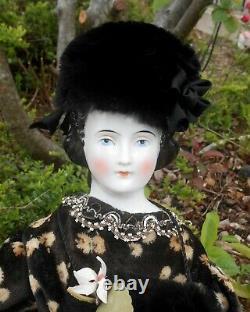 Antique poupée tête buste porcelaine émaillée CHINA LADY époque XIXème