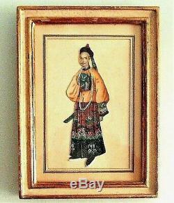 Art d'Asie 2 peintures sur soie couple Impérial, encadré, époque XIX ème