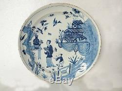 Assiette Delft blanc bleu décor chinois oiseaux époque XIXème